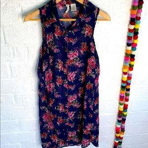 Mimi Chica Floral Duster Button Down Sheer sz M